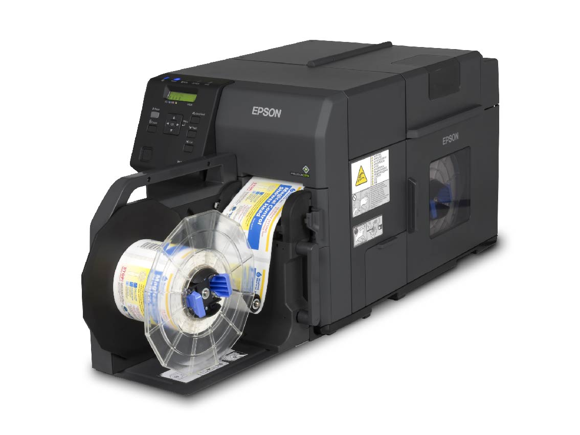 Epson TM-C7500 label printer with rewinder